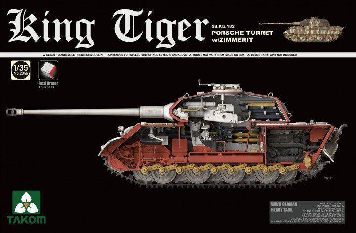 Сборная модель немецкого танка. King Tiger Sd.Kfz.182 PORSCHE TURRET w/ZIMMERIT. 1/35 TAKOM 2046