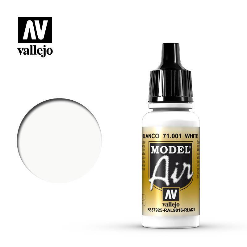 Белый. Краска акриловая 17мл. VALLEJO MODEL AIR 71001
