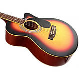 Набор акустическая гитара Bandes AG-831C 3TS 38+ чехол+ремень, фото 3