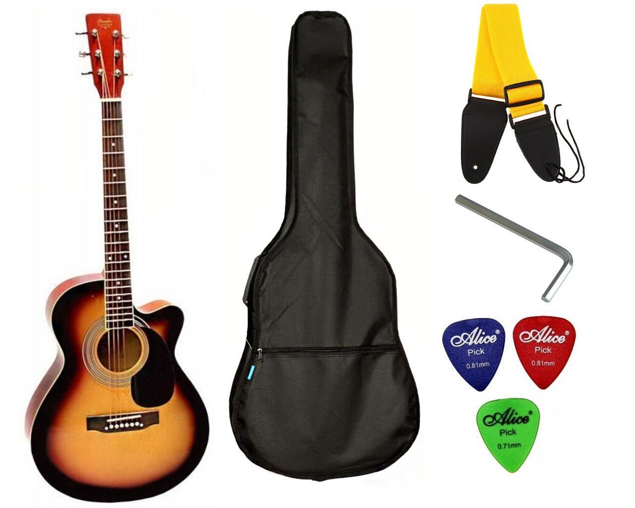 Набор акустическая гитара Bandes AG-831C 3TS 38+ чехол+ремень