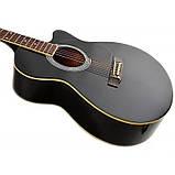 Набор акустическая гитара Bandes AG-831C BK 38+чехол+каподастр, фото 3