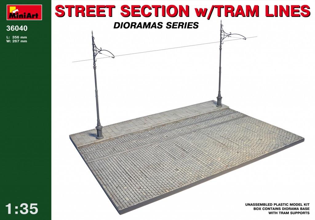 Диорама, фрагмент улицы с трамвайными путями. 1/35 MINIART 36040