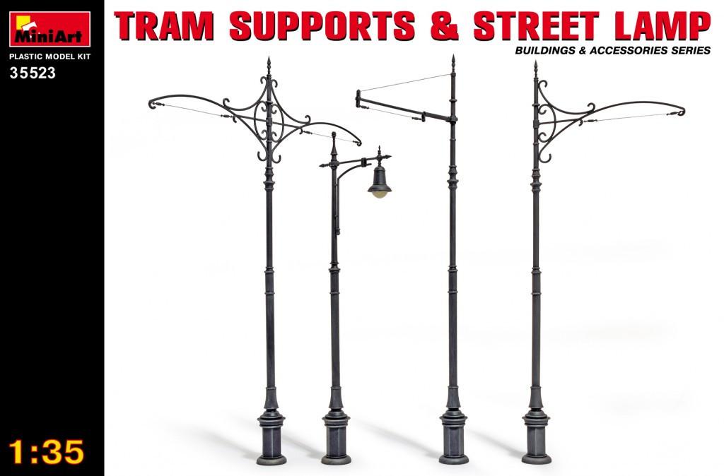Трамвайні стовпи і вуличний ліхтар. Збірні моделі в масштабі 1/35. MINIART 35523