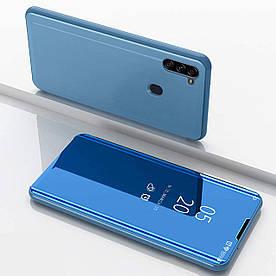Чехол книжка для Samsung Galaxy A11 A115 боковой с зеркальной крышкой, голубой