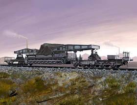 Німецька залізнична платформа для транспортування знаряддя Карл. 1/72 HOBBY BOSS 82906