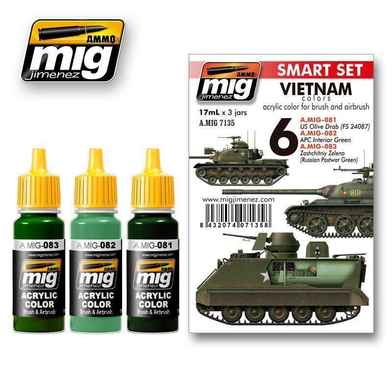Набор красок. Цвет техники войны во Въетнаме. AMMO MIG A. MIG-7135