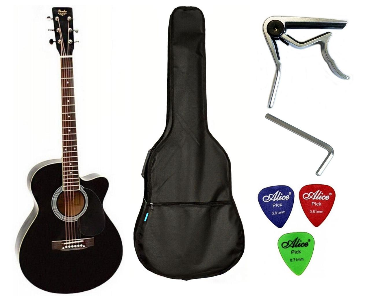 Набор акустическая гитара Bandes AG-851C BK 39+ чехол+каподастр