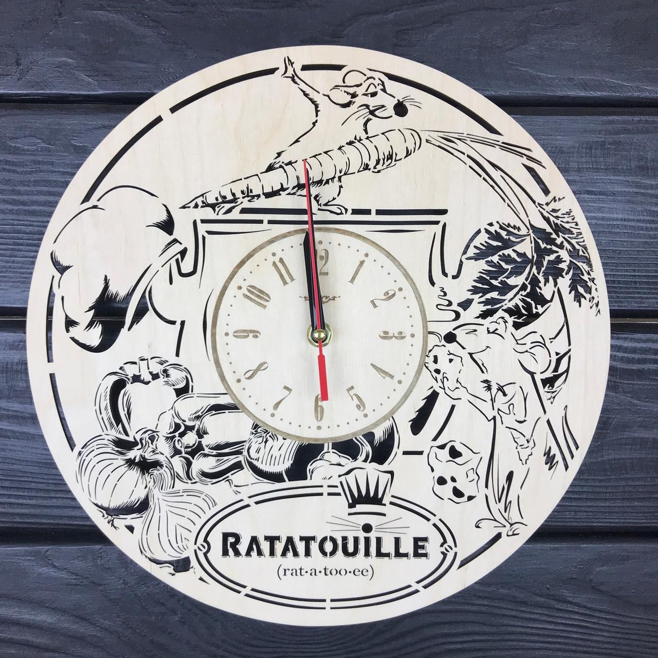 Бесшумные детские настенные часы из дерева «Рататуй»