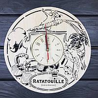 Бесшумные детские настенные часы из дерева «Рататуй», фото 1