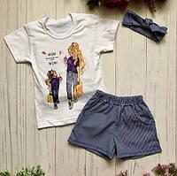 Детский костюм для девочки летний с принтом (футболка + шорты + повязка) BR-S 1194645774