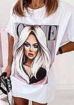 Сукня-футболка біле і чорне пряме з малюнком (в кольорах), фото 9