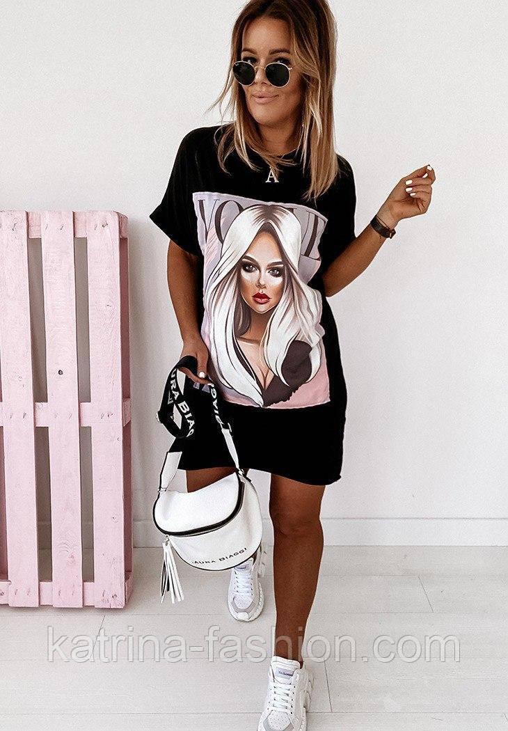 Сукня-футболка біле і чорне пряме з малюнком (в кольорах)