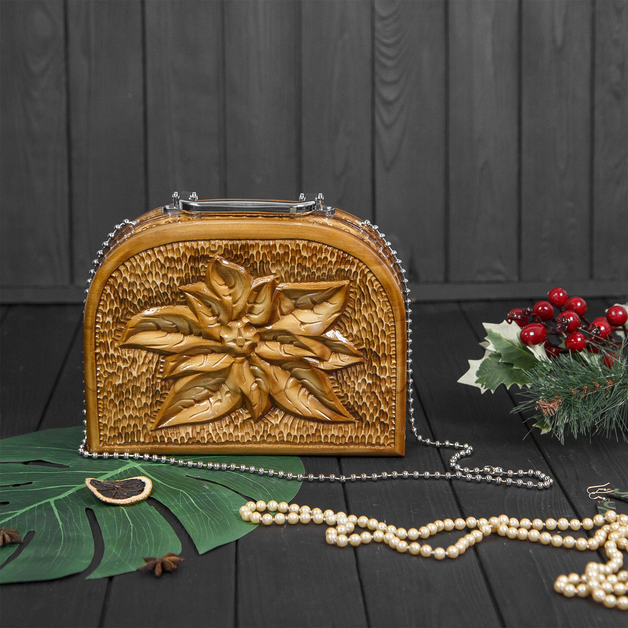 Деревянная резная женская сумка ручной работы, STRYI, 25*19*8, фото 1