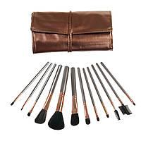 Набор кистей (кисточек) для макияжа в чехле (12 шт) кисти для макияжа (пензлі для макіяжу), Косметички, сумочки, кейсы для косметики