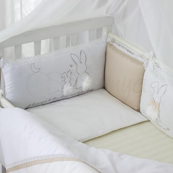Сменный комплект белья в кроватку Зайчик молочний