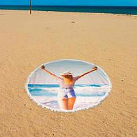"""Пляжный коврик """"море девушка"""" (150 см), коврик для пикника, подстилка для пляжа, Пляжные коврики, накидки для пляжа"""