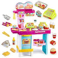 Детский игровой набор Fast Food Shop (48 предметов) игрушечный магазин (макдональдс) Розовый | 🎁%🚚, Интерактивные развивающие игрушки, головоломки