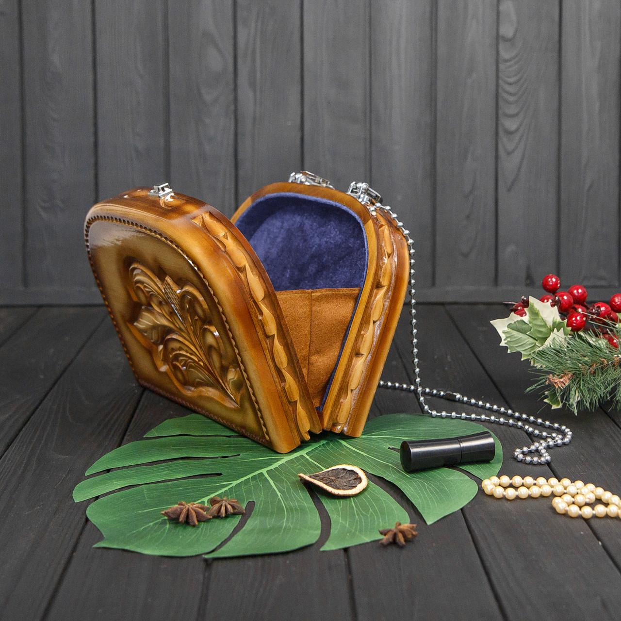 Женская сумочка ручной работы из дерева, эксклюзивная резьба, STRYI, 25*19*8, фото 3