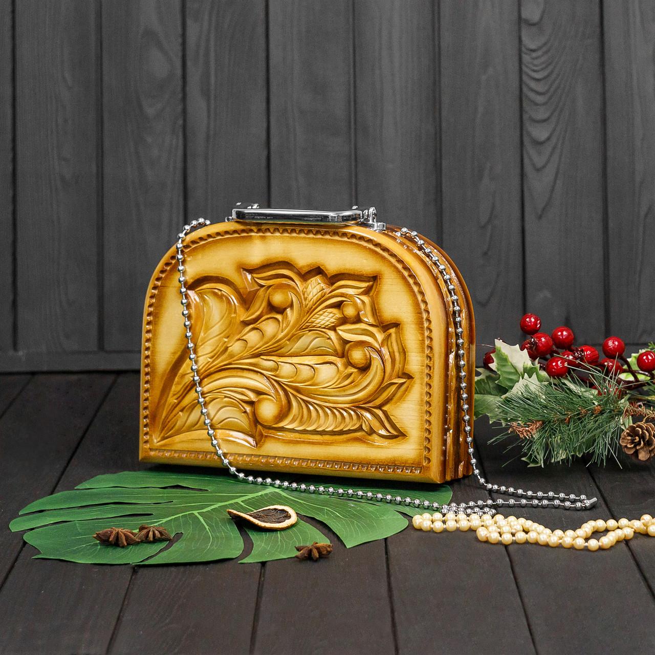 Женская сумочка ручной работы из дерева, эксклюзивная резьба, STRYI, 25*19*8