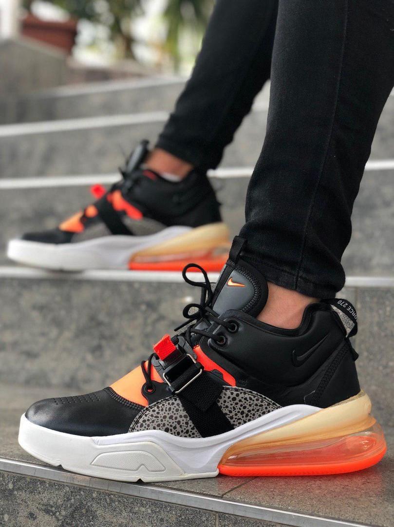 Мужские кроссовки в стиле Nike Air Force 270 black/orange (Реплика ААА)
