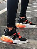 Мужские кроссовки в стиле Nike Air Force 270 black/orange (Реплика ААА), фото 2