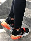 Мужские кроссовки в стиле Nike Air Force 270 black/orange (Реплика ААА), фото 3