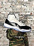 Мужские кроссовки в стиле Air Jordan 11 Retro white/black (Реплика ААА), фото 7