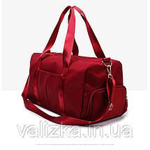 Дорожная сумка для ручной клади женская бордовая с отделением для обуви и карманами, фото 3