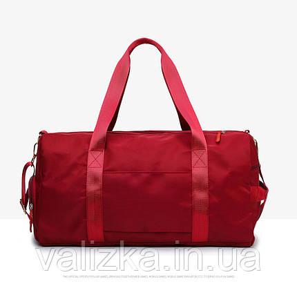 Дорожная сумка для ручной клади женская бордовая с отделением для обуви и карманами, фото 2