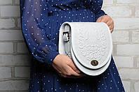 """Женская кожаная сумка ручной работы полукруглая """"Калина"""" белая, фото 1"""