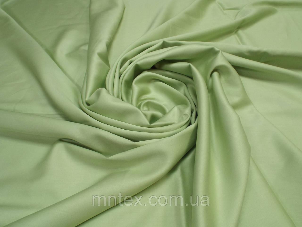 Ткань для пошива постельного белья сатин гладкокрашеный Золотисто-Зеленый