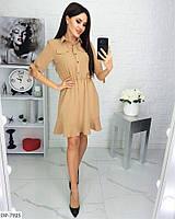 Стильное повседневное платье креп-жатка до колена с четвертным рукавом арт 897