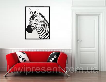 "Картина из металла ""Зебра"" (черный мат). Панно на стену. Декоративное панно., фото 2"