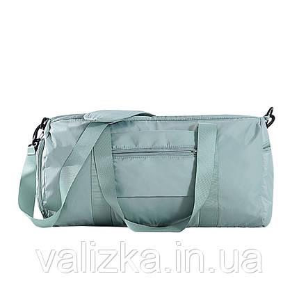 Дорожня сумка для ручної поклажі жіноча м'ятна з відділенням для взуття і кишенями, фото 2