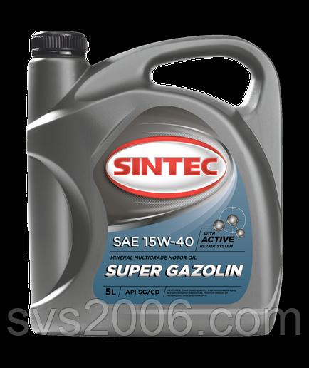 Масло моторное 15W-40 SINTEC Super Gazolin SG/CD, 5л, минерал
