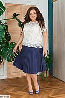 """Блуза женская макраме на трикотажной основе модель:17 (50, 52, 54, 56) """"LANA"""" недорого от прямого поставщика"""