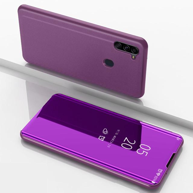 Samsung Galaxy a11 чехол книжка с зеркальной поверхностью сиреневый