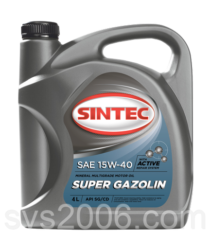 Масло моторное 15W-40 SINTEC Super Gazolin SG/CD, 4л, минерал