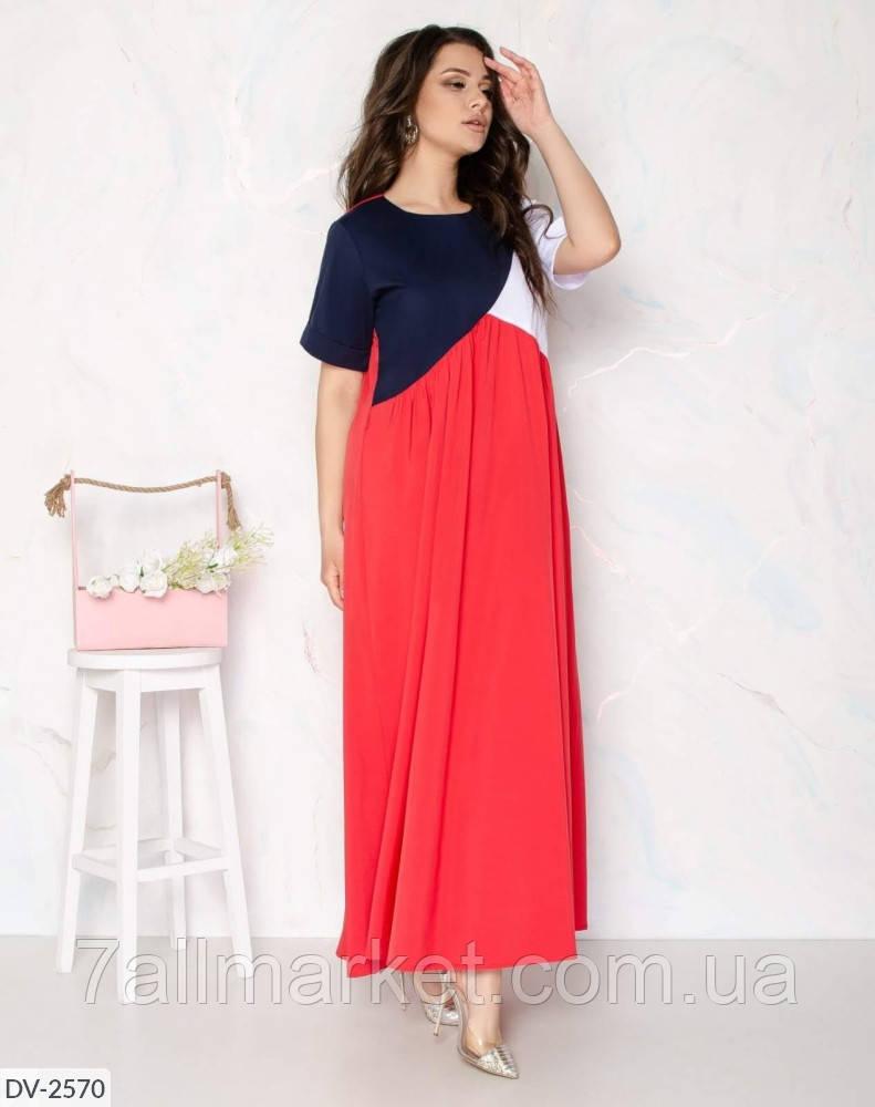 """Платье женское трехцветное мод:104. (48-50, 52-54, 56-58) """"DANIELA"""" недорого от прямого поставщика"""