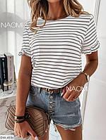 Женская блуза в полоску с коротким рукавом, фото 1