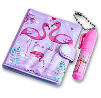 Блокнот для девочки + маленькая ручка, милые блокнотики для детей - Розовый фламинго, Наборы для рисования, пеналы