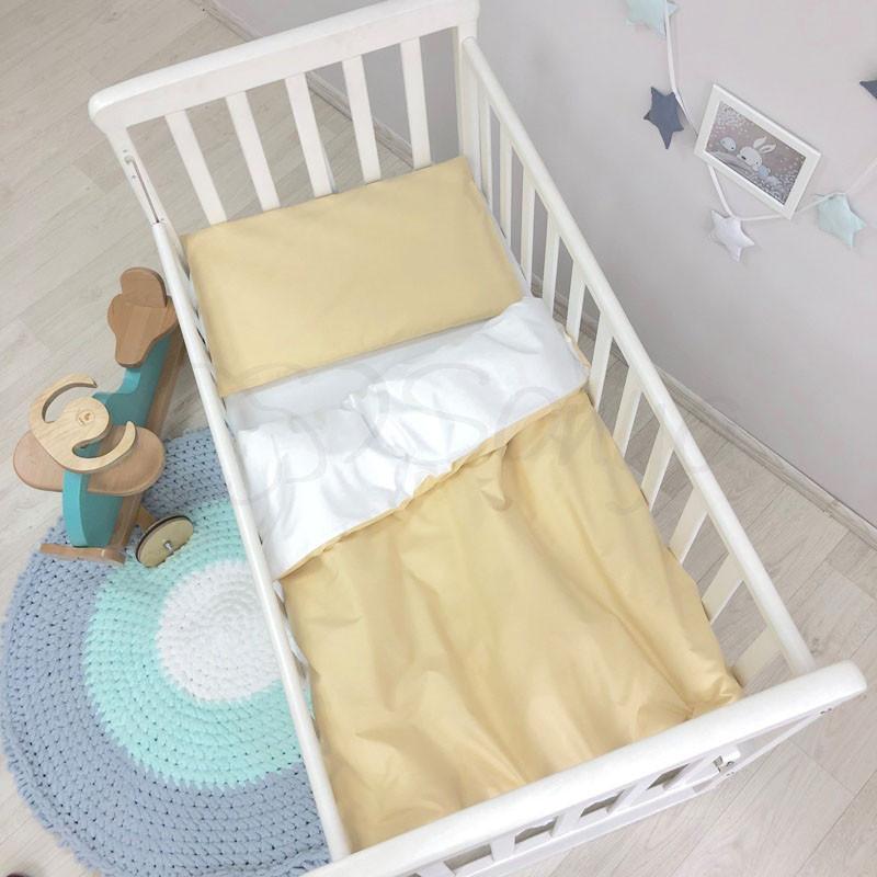 Сменный комплект белья в кроватку Универсальный горчичный