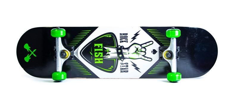 Скейтборд профессиональный деревянный для трюков Fish Skateboard Rock Star из канадского клена до 90 кг Польша
