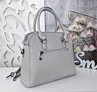 Женская серая сумка, эко-кожа люкс качества, фото 3