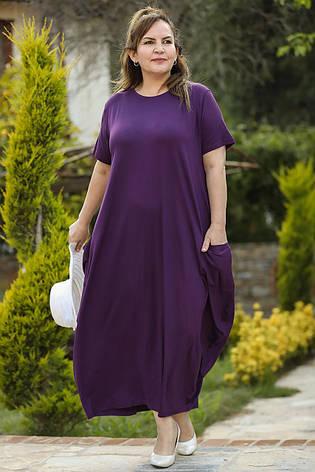 Платье мешок для полных свободное из вискозы от 60 размера, фото 2