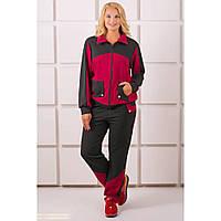 Стильный, спортивный костюм большого размера, Бонита бордового цвета