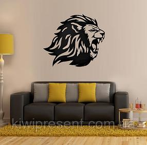 """Картина из металла  """"Лев"""" (черный мат). Декоративное панно на стену., фото 2"""