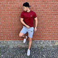Мужской комплект летний (футболка, шорты) Under Armour,Puma,Nike, Air Jordan,New Balance красный серый