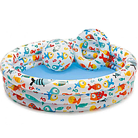 Бассейн детский надувной Intex Весёлые рыбки в комплекте круг и мяч