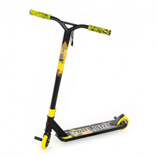 Самокат трюковый Explore Sterling Super New черный с желтым + пеги ( колеса литой дюраль )